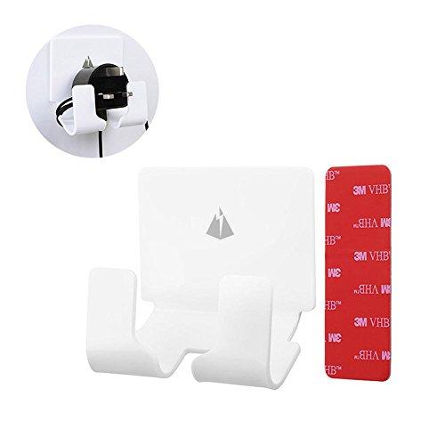 Leegoal Plug Hook Holder, No Drilling 3m Adhesive Cell Storage Wall Hook, Damage Free Wall Mount Hooks Organizer for Plug Socket, Smart Phone (White) ()