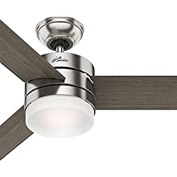 "Hunter 54"" Contemporary Ceiling Fan with Remote Control in Brushed Nickel (Certified Refurbished)"