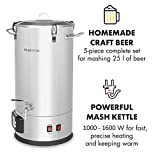 Klarstein Maischfest • • 25-Liter Capacity Beer Brewing Device • Mash Tun • 5-Piece Set • 1000 and 1600 Watts Power• LCD Display and Touch Control Panel • Temperature • Stainless Steel