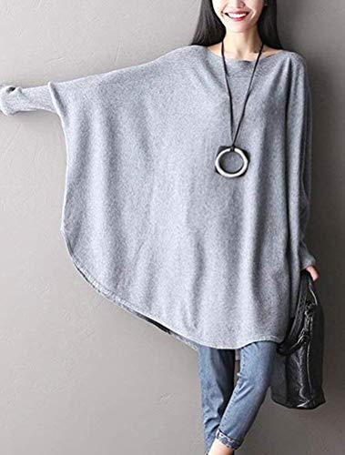 A grey Forti Qiusa 2 Maglia Taglie 1 colore Pipistrello Lunghe grey Style Con Donna Da Maniche Pipa q5a4Anwx5