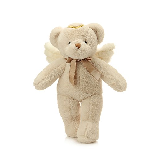 YXCSELL 1.5 FT White Cute Soft Plush Stuffed Animals Small Teddy Bear with Wings and Golden Halo Perfect Gift Teddy for All Occasions (Kids Plush Dinosaur Wings Costume)