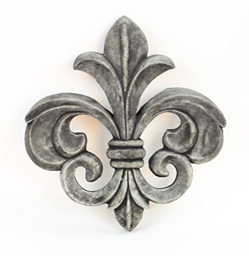 Fleur de Lis Concrete Wall Plaque Cement French Style Art Decor Cast Stone Fleur De Lys Figure