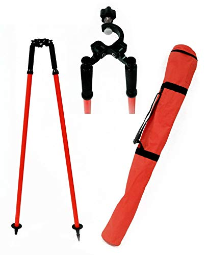 Field Durability, Quick Lever Locking Mechanism, Thumb Release Red Bipod, For Surveying Total Station, GPS