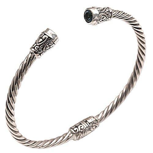 Sterling Spiral Silver Bracelet (NOVICA Blue Topaz .925 Sterling Silver Cuff Bracelet 'Spiral Temple')