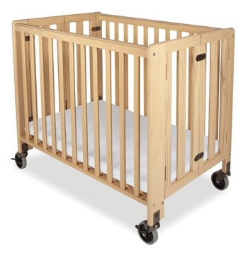 Folding Fixed-side, Crib - Full-size, Natural, Foundations Hideaway Crib.