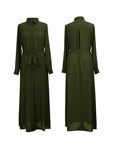 Nuevo vestido de manga larga camisa Maxi con cinturón tamaños EU 34 - 44 caqui