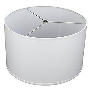 "FenchelShades.com 18"" Top Diameter x 18"" Bottom Diameter 12"" Height Cylinder Drum Lampshade USA Made (White)"
