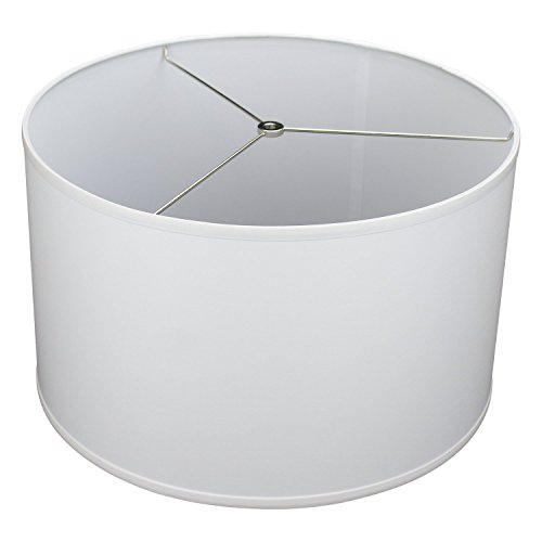 "FenchelShades.com 18"" Top Diameter x 18"" Bottom Diameter 12"" Height Cylinder Drum Lampshade USA Made (White)"