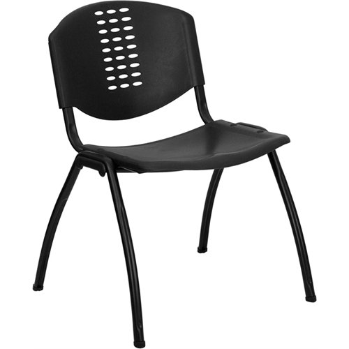 Textured Polypropylene Stacking Chairs - Flash Furniture HERCULES Series 880 lb. Capacity Black Plastic Stack Chair with Black Frame