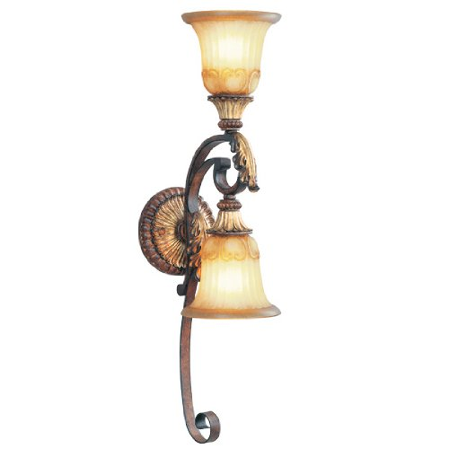 Livex Lighting 8572-63 Villa Verona 2 Light Verona Bronze Finish Wall Sconce with Aged Gold Leaf Accents and Rustic Art Glass