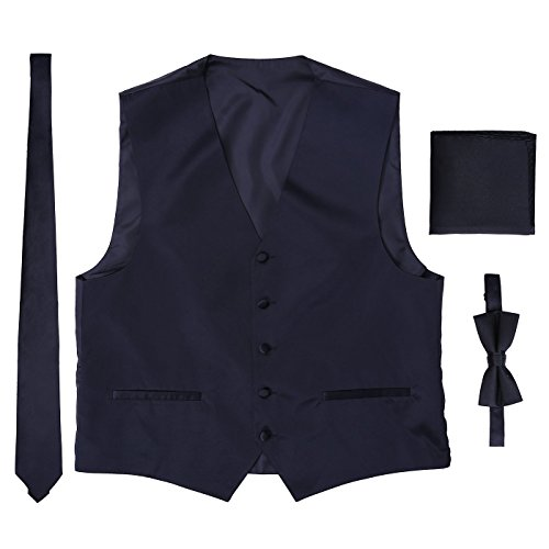 Men's 4 Piece Formal Tuxedo Vest with Matching Solid Color Bowtie, Necktie, and Pocket Square