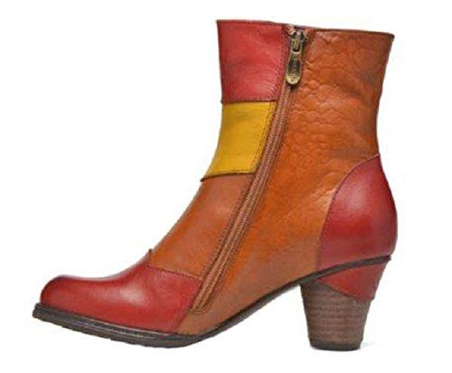 11sunshop Lederen Laarzen Op Het Model Juanna Hgilliane Ontwerp In Rood Oranje 33-44