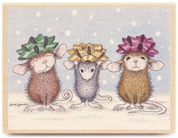 Stampabilities House Mouse Wood Mounted Rubber Stamp: Wrapped & Ready Stampabilities House Mouse