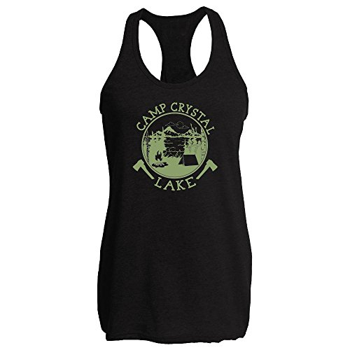Camp Crystal Lake Retro Movie Black XL Womens Tank Top by Pop (Top 13 Halloween Movies)