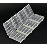 Bluecell Pack of 4 PCS Clear Luminous Glow in Dark 4 Cell AA/AAA Battery Case/Holder