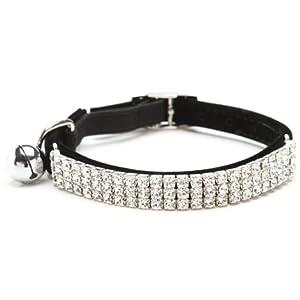 BINGPET Adjustable Cat Collar Soft Velvet Safe Collars Bling Diamante with Bells , Black