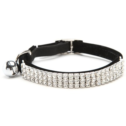 BINGPET Adjustable Cat Collar Soft Velvet Safe Collars Bling Diamante with Bells , Black