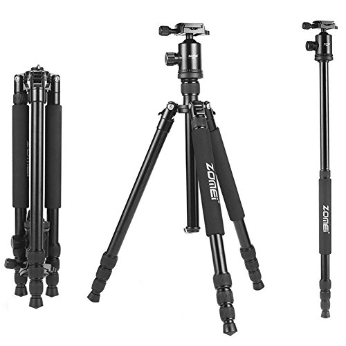ZoMei Z888 Professional Portable Metallic Color Aluminium Tripod & Ball Head Compact Travel for Canon, Sony, Nikon, Samsung, Panasonic, Olympus, Cameras and Video Camera (Black)