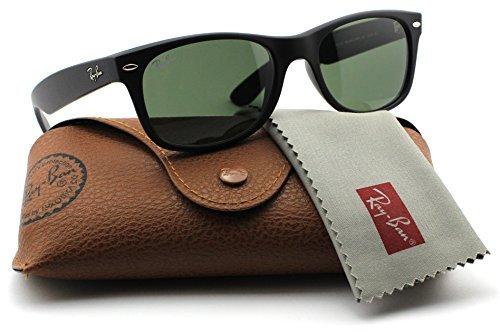 Ray_Ban New Wayfarer Sunglasses (Matte Black w/Black Solid G15 Lens, 58mm)
