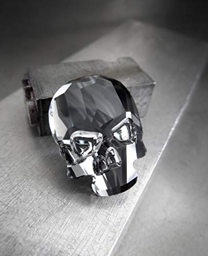 Small Crystal Skull Pin with Swarovski Crystal, Midnight Black - Locking Pin Back