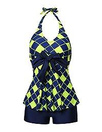 MiYang Women's Two Pieces Slim Tankini Suit Bathing Swimwear