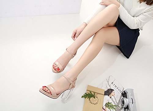 Aisun Kunstleder Aprikosenfarben Damen Blockabsatz mit Transparent Offene Sandale Zehen Lack Schnalle Knöchelriemchen HqHdxOnr