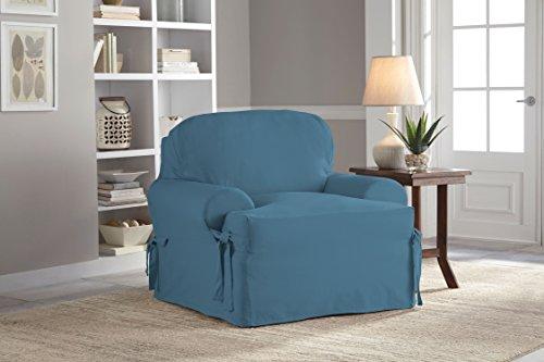 (Serta Relaxed Fit Duck Slipcover T-Cushion Chair & Ottoman Set Indigo 2 Piece )