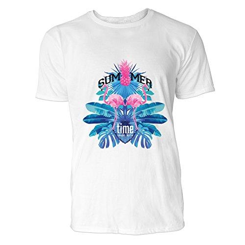 SINUS ART® Summer Time mit Flamingos und Palmen Herren T-Shirts in Weiss Fun Shirt mit tollen Aufdruck