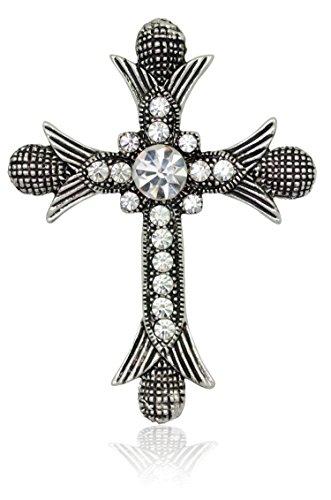- Akianna Antique Silver-tone Swarovski Element Crystals Catholic Cross Pin Brooch