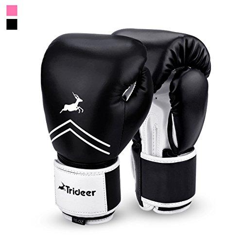 Trideer Essential Gel Boxing Kickboxing Training Gloves (Black & White, 16 oz)