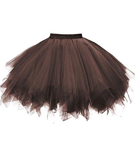 Dresstore Women's Short Vintage Petticoat Skirt Ballet Bubble Tutu Multi-colored Brown L/XL