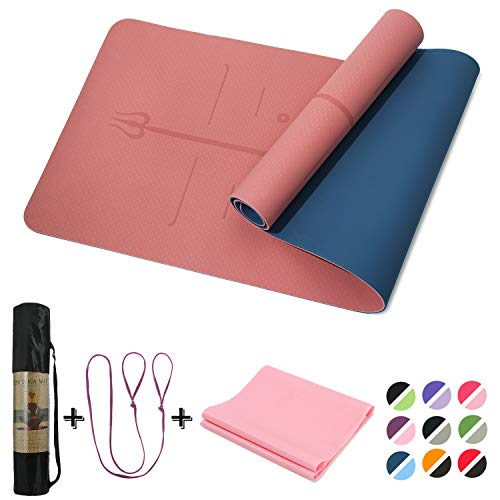 Yoga Mat Non Slip, Pilates Fitness Mats with Alignment Marks ,72×24″ Anti-Tear Yoga Mats for Women, 1/4″ Exercise Mats for Home Workout with Elastic Band Carrying Strap