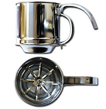- Symak K0215 Al-de-Chef Flour Sifter - 1 Cup Capacity - Stainless Steel, White