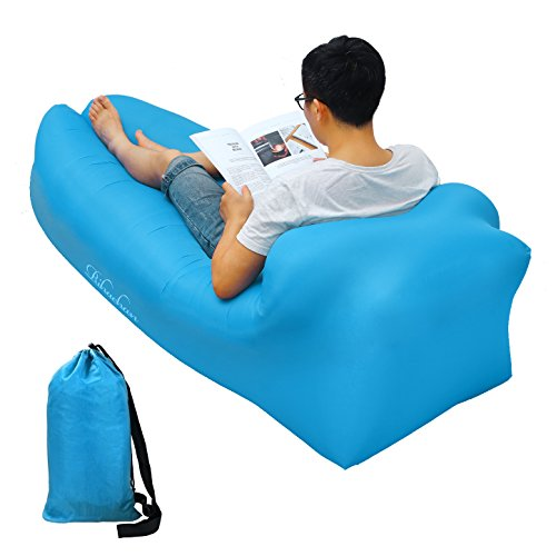Inflatable Lounger, Air sofa, Fast Inflate by Wind or Air Pump, Waterproof Air Bag Chair Sofa, Perfect for Travelling, Camping,...