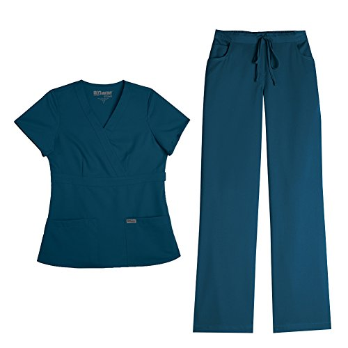 Grey's Anatomy Women's Mock Wrap Top 4153 & Drawstring Pant 4232 Scrub Set (Bahama(ga) - Large / Large Tall) by Barco