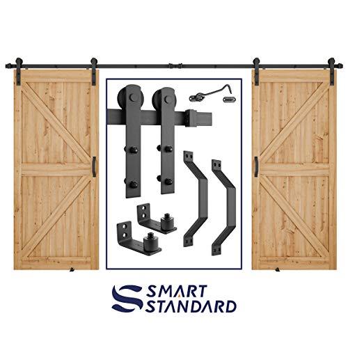 12 FT Heavy Duty Double Gate Sliding Barn Door Hardware Kit, 12ft Double Rail, Black, (Whole Set Includes 2x Pull Handle Set & 2x Floor Guide & 1x Latch Lock) Fit 36