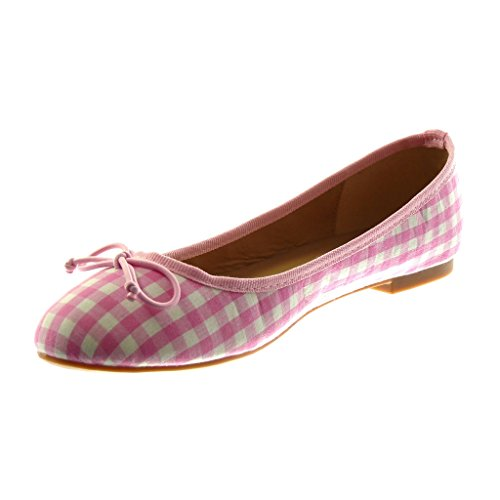 Shoes Women's Ballet Shoes Pink Heel Angkorly Knot Slip Block Flat Fashion Gingham 1 cm On Node wHxqXBA