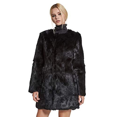 - Fur Story Women's Long Fur Coat Real Rabbit Fur Thick Warm Nine Points Sleeve O Neck US 6 (Black)