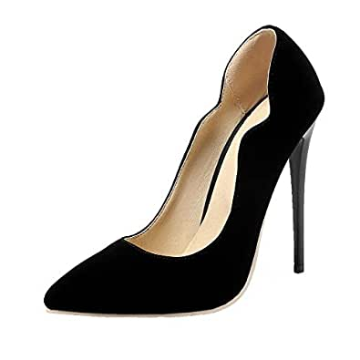 VogueZone009 Women's Frosted Solid Pull-On Pumps-Shoes, CCADP011471, Blackms, 34