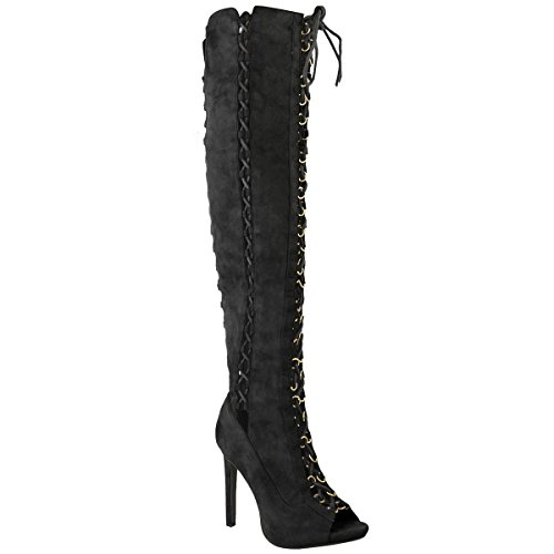 Fashion Thirsty Womens Over The Knee Thigh High Heel Boots Sexy Stilleto Party Size Black Faux Suede Ew8113q2N7