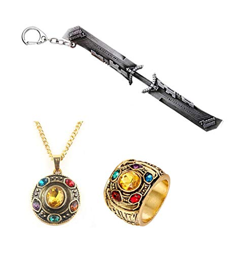 3Pcs Avengers 4 Endgame Thanos Keychains Ring Sword Double edged Cosplay Weapons Movie Keyring With Ring Necklace]()