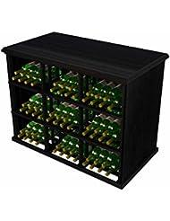 Vintner Series Wine Rack Tasting Table For 180 Bottles Mahogany With Midnight Black Stain