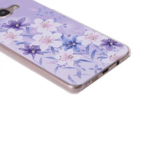 inShang Samsung Galaxy A3 (2016) Funda y Carcasa para Galaxy A3 (2016) case Galaxy A3 (2016) móvil, Ultra delgado y ligero Material de PC funda dura, carcasa posterior (Back case) con , con el diamant A flower - purple