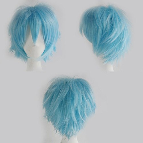 S-noilite Women Men Cosplay Hair Wig Short Straight Anime Party Dress Fluffy Costume Full Wigs Light Blue]()