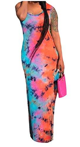 Coolred-femmes Cravate Teinture Poches Sans Manches Sexy Et Décontractée Mi Robe Maxi As1 Coloré