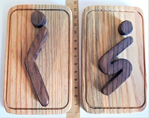 WC Baño Cartel Placa pictograma madera reciclada Restroom bathroom Sign pictogram recycled wood: Amazon.es: Handmade
