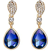 Leedford Golden Crystal Rhinestone Two Layer Teardrop Pear Shaped Dangle Clip Earrings Tipped with Eye Shape