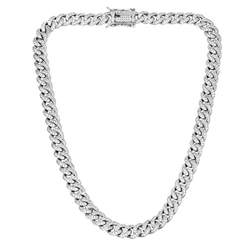 TRIPOD JEWELRY Hip Hop 8mm 14K Gold/White Gold Plated Iced Out Cuban Link Chain Bracelet - Mens Miami Cuban Link Chain Diamond CZ Cuban Chain Choker (8mm White Gold, 18) (14k White Mens Link Bracelet)