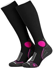 Piarini 1 paar functionele sokken lopen sportsokken heren dames - zwart wit rood blauw - badstof zool compressieeffect maat 35-38 39-42 43-46
