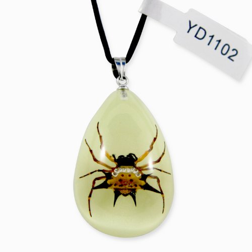 (REALBUG Spiny Spider Glow in The Dark Necklace,)